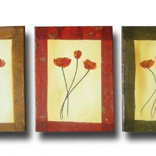 Art: Textured poppy triptych by Artist Eridanus Sellen