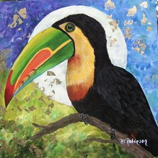 Art: TOUCAN MOON 18x18 sold by Artist Ke Robinson