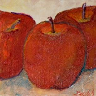 Art: Three Red Apples-sold by Artist Delilah Smith