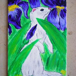 Art: White ferret in Irises by Artist Tracey Allyn Greene
