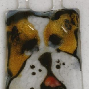 Art: Fused Glass puppy ornament by Artist Deborah Sprague