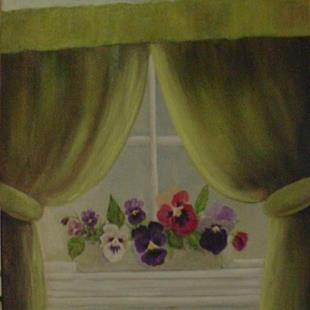 Art: Pansies on my Window Sill/SOLD by Artist Barbara Haviland