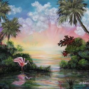 Art: FLorida  ROSEATE SPOONBILL -Sold by Artist Ke Robinson