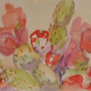 Art: Cactus in bloom, SOLD by Artist Delilah Smith