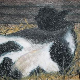 Art: Resting Cow by Artist Laura Gemme Triplett