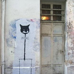 Art: Doorway with Street Art (City Kitty) by Artist Muriel Areno