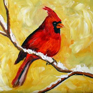 Art: Cardinal in the Snow by Artist Laurie Justus Pace