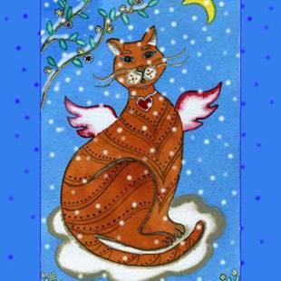 Art: Winter Angel Tabby Cat by Artist Naquaiya
