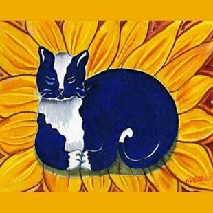 Art: Tuxedo Sunflower Cat by Artist Naquaiya