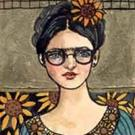 Art: FRIDA WITH GLASSES by Artist Catherine Darling Hostetter
