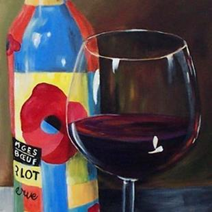 Art: Glass of Merlot by Artist Torrie Smiley