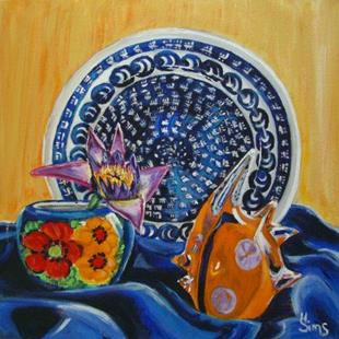 Art: Polish Pottery XV: Water Lily by Artist Heather Sims