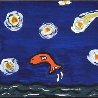 Art: Mini: Trout, Lake, and a Starry Night by Artist Jenny Doss