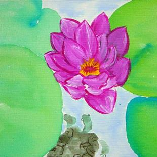 Art: Turtle and Waterlily   by Artist Tracey Allyn Greene
