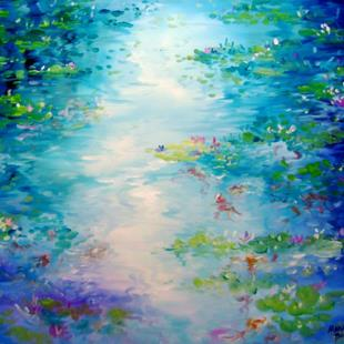 Art: BLUE WATERS LILY POND by Artist Marcia Baldwin