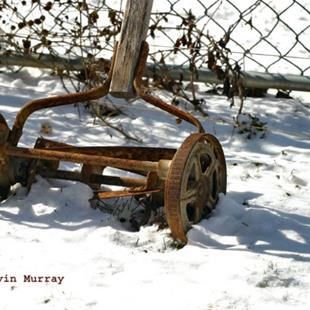 Art: rusty mower by Artist W. Kevin Murray