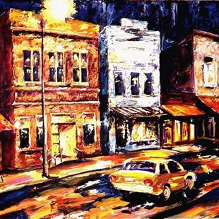 Art: City Night, Street Light by Artist Diane Millsap