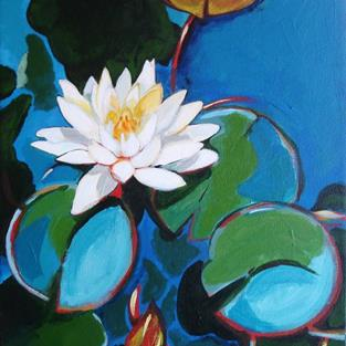 Art: White Waterlily by Artist Muriel Areno