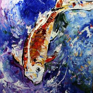 Art: Koi in Purple by Artist Laurie Justus Pace