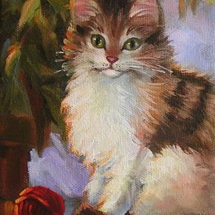 Art: Kitty With Red Yarn by Artist Patricia  Lee Christensen