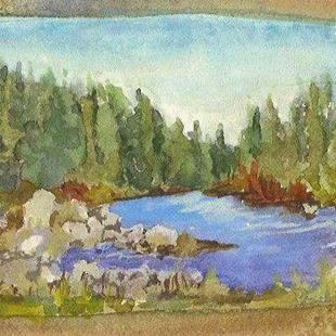 Art: On the Deschutes by Artist Deborah Sprague