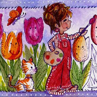 Art: Painting Tulips Red - ACEO  by Artist Patricia  Lee Christensen