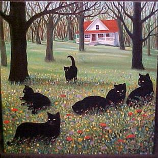 Art: COUNTRY CATS II by Artist Rosemary Margaret Daunis