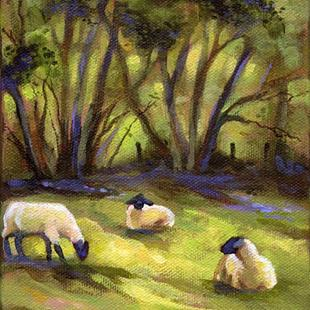 Art: Sheep Grazing in Meadow by Artist Patricia  Lee Christensen