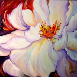 Art: WHITE PEONY ON RED by Artist Marcia Baldwin