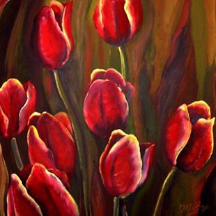 Art: Dark Red Tulips - SOLD by Artist Diane Millsap