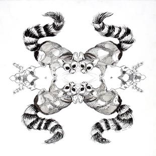 Art: Kaleidoscopic Lemurs by Artist Muriel Areno