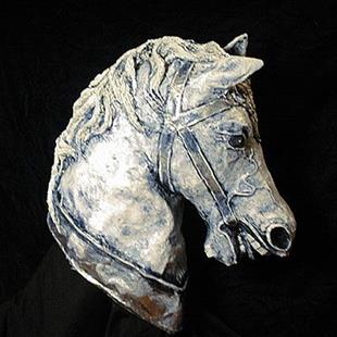 Art: Horse Head Sculpture by Artist Patience