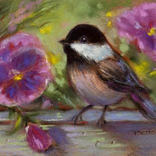 Art: Chickadee And Pansies by Artist Patricia  Lee Christensen