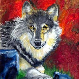 Art: Gray Wolf by Artist Dia Spriggs