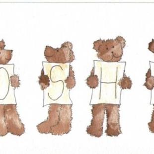 Art: PERSONALISED NAME teddies by Artist Dawn Barker