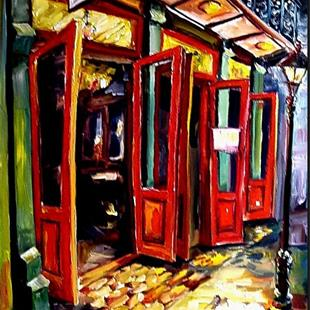 Art: Big Red Doors in the French Quarter - SOLD by Artist Diane Millsap