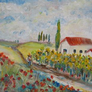 Art: Poppies and Sunflowers-SOLD by Artist Delilah Smith