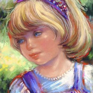 Art: Young Girl with Purple Headband by Artist Patricia  Lee Christensen