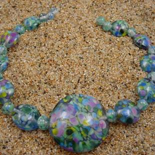 Art: Ambrosia Glass *SPRING SKY* Handmade Lampwork Beads - SOLD by Artist Bonnie G Morrow