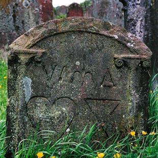 Art: Child's Gravestone at Lanercost Priory by Artist Shawn Marie Hardy