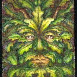 Art: ATC - Green Man #1 by Artist Madeline  Carol Matz