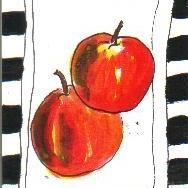Art: APPLES one ATC per day by Artist Nancy Denommee