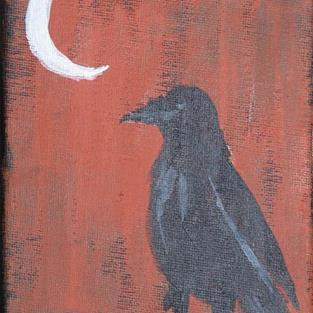 Art: CROW AND MOON PHASE 1 one painting per day by Artist Nancy Denommee