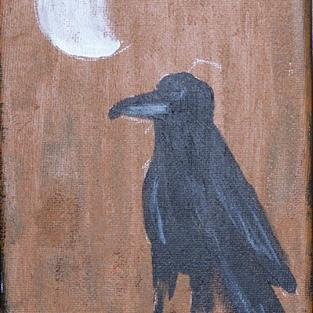 Art: CROW AND MOON PHASE TWO one painting per day by Artist Nancy Denommee