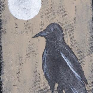 Art: CROW AND FULL MOON one painting per day by Artist Nancy Denommee