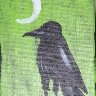Art: CROW WITH PHASES OF MOON one painting per day by Artist Nancy Denommee