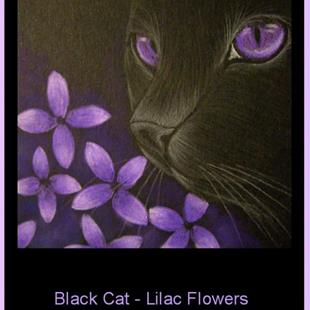 Art: Black Cat - Lilac Flowers -EBSQ  by Artist Cyra R. Cancel