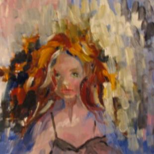Art: Red Haired Girl-SOLD by Artist Delilah Smith