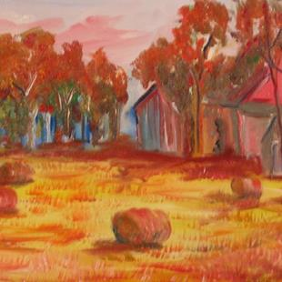 Art: Red Bails of Hay-sold by Artist Delilah Smith