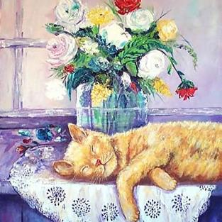 Art: KITTY SNOOZING by Artist Ulrike 'Ricky' Martin